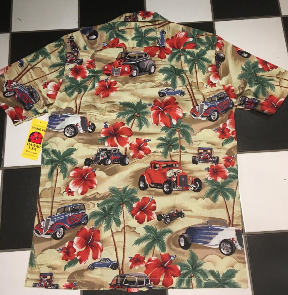 Hawaiiskjorte Rod Med Flammer Beige Fønix